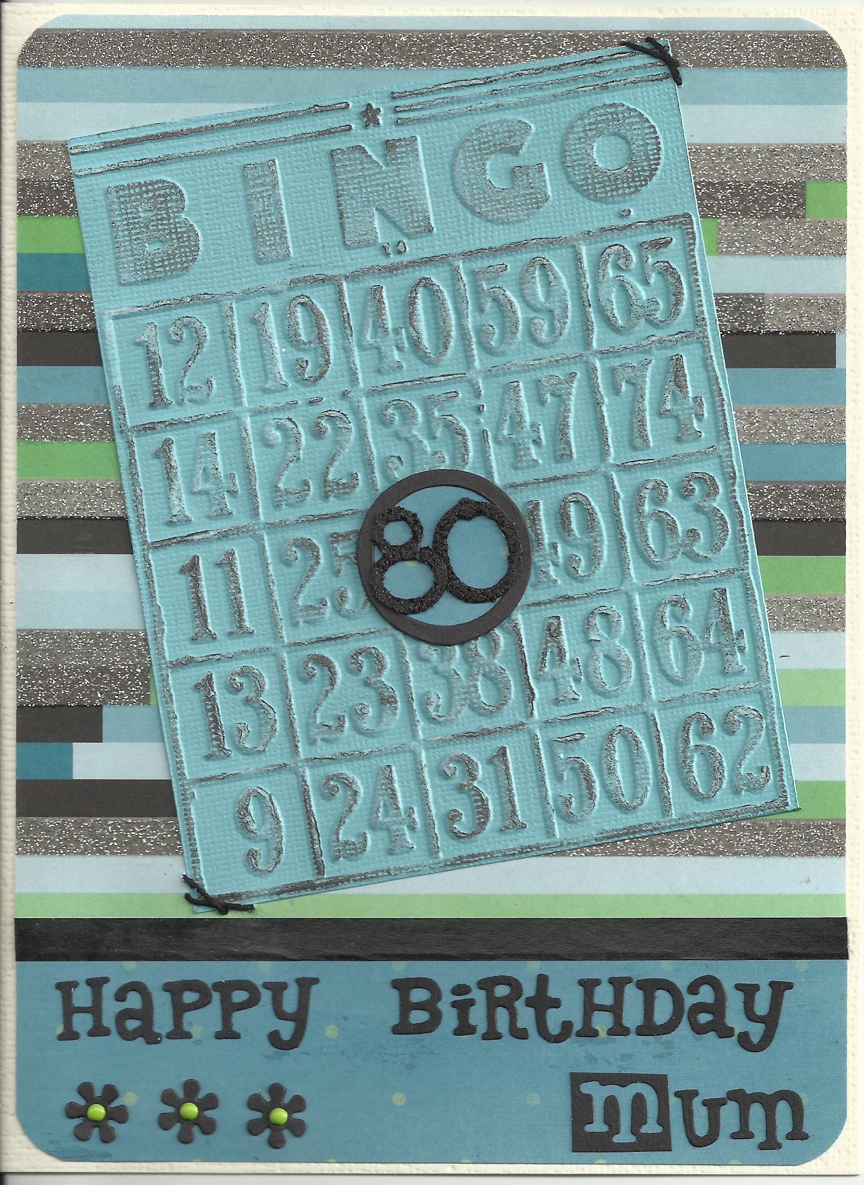 80th brithday bingo